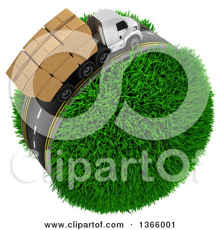 Clipart of a 3d Roadway with a Big Rig Truck Transporting Boxes, Driving Around a Grassy Planet, on White - Royalty Free Illustration by KJ Pargeter