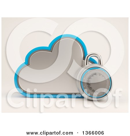 Clipart of a 3d Cloud Storage Icon with a Round Padlock, on Shading - Royalty Free Illustration by KJ Pargeter