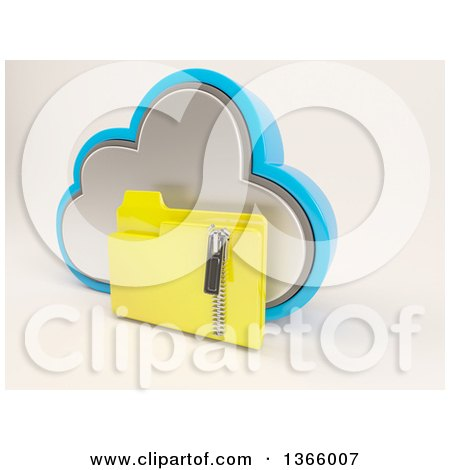 Clipart of a 3d Cloud Icon with a Zipped Folder, on off White - Royalty Free Illustration by KJ Pargeter