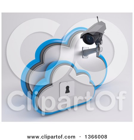 Clipart of a 3d White HD CCTV Security Surveillance Camera Mounted on Cloud Icon with a Key Hole, on off White - Royalty Free Illustration by KJ Pargeter