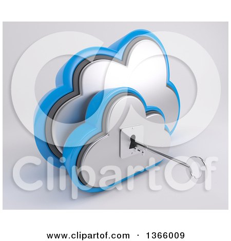Clipart of a 3d Silver and Blue Cloud Drive Icon with a Key and Hole, on off White - Royalty Free Illustration by KJ Pargeter