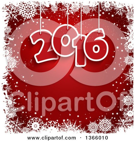 Clipart of Suspended New Year 2016 Numbers over Red, with a Border of White Snowflakes - Royalty Free Vector Illustration by KJ Pargeter