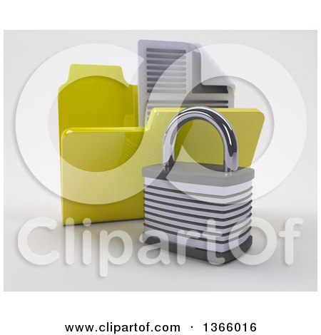 Clipart of a 3d Yellow File Folder with Documents and Padlock, on Shaded White - Royalty Free Illustration by KJ Pargeter