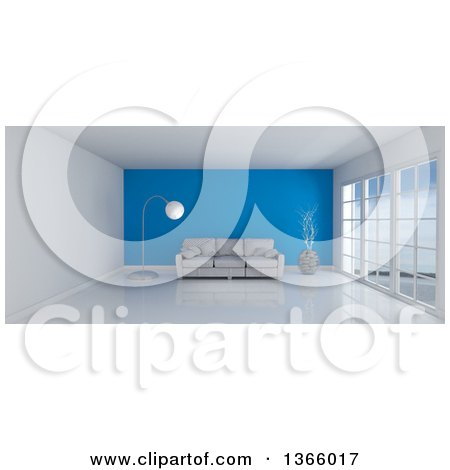 Clipart of a 3d White Room Interior with Floor to Ceiling Windows, a Blue Feature Wall and Furniture - Royalty Free Illustration by KJ Pargeter