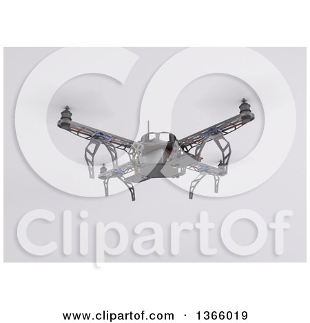 Clipart of a 3d Metal Quadcopter Drone Flying, on a Shaded Background - Royalty Free Illustration by KJ Pargeter