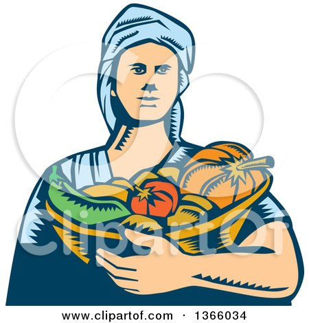 Clipart of a Retro Woodcut White Female Farmer Holding a Basket of Harvest Vegetables - Royalty Free Vector Illustration by patrimonio