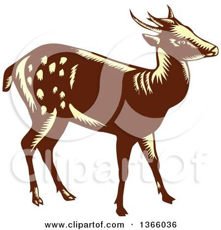 Clipart of a Retro Woodcut Brown and Yellow Visayan or Philippine Spotted Deer - Royalty Free Vector Illustration by patrimonio