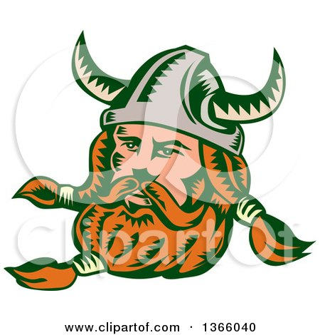 Clipart of a Retro Woodcut Viking Norseman Warrior with a Long Beard and Horned Helmet - Royalty Free Vector Illustration by patrimonio