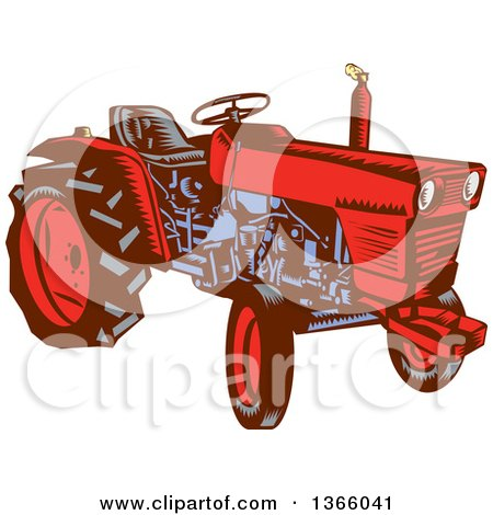 Clipart of a Retro Red and Blue Woodcut Vintage Farm Tractor - Royalty Free Vector Illustration by patrimonio