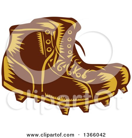 Clipart of a Retro Woodcut Brown and Orange Pair of Rugby Football Boots - Royalty Free Vector Illustration by patrimonio