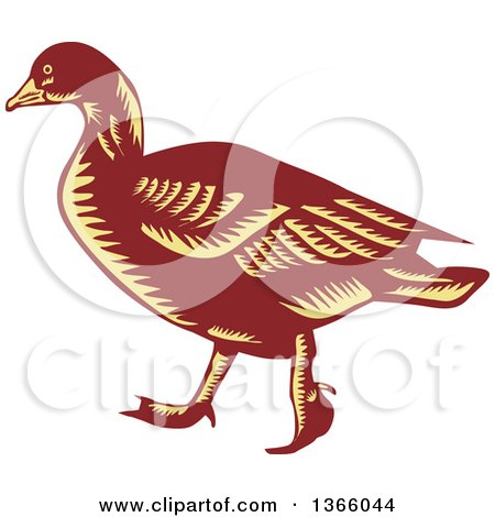 Clipart of a Retro Brown and Yellow Woodcut Walking Goose - Royalty Free Vector Illustration by patrimonio