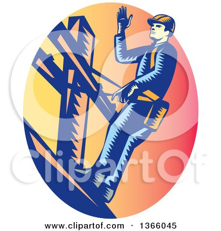 Clipart of a Retro Woodcut Lineman on a Post, in a Sunset Oval - Royalty Free Vector Illustration by patrimonio