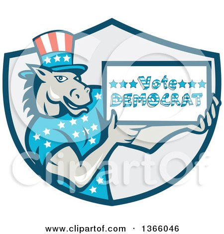 Clipart of a Retro Cartoon Donkey Wearing a Top Hat and Holding a Vote Democrat Sign in a Shield - Royalty Free Vector Illustration by patrimonio