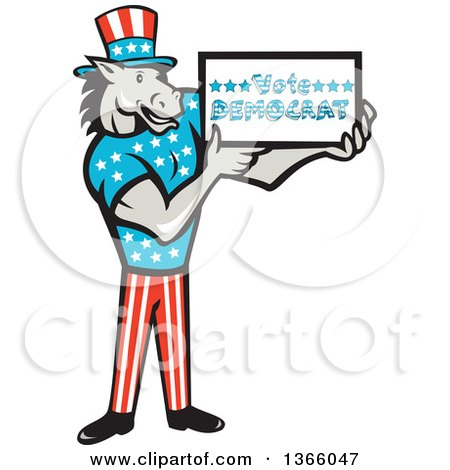 Clipart of a Retro Cartoon Donkey Wearing a Top Hat and Holding a Vote Democrat Sign - Royalty Free Vector Illustration by patrimonio