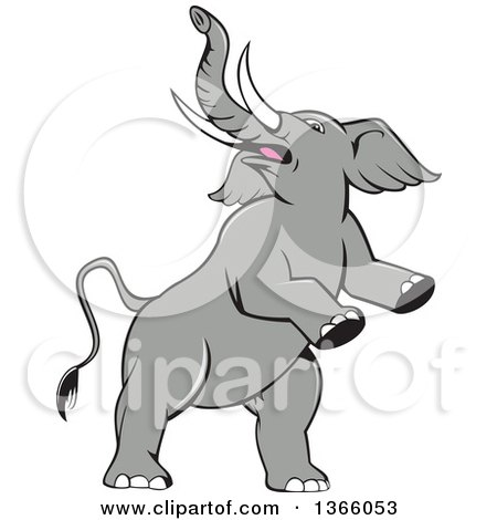 Clipart of a Cartoon Prancing and Rearing Elephant - Royalty Free Vector Illustration by patrimonio