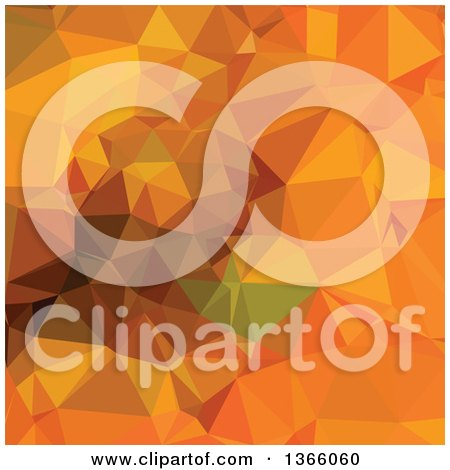 Clipart of a Deep Carrot Orange Low Poly Abstract Geometric Background - Royalty Free Vector Illustration by patrimonio
