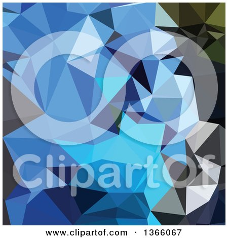 Clipart of an Air Force Blue Low Poly Abstract Geometric Background - Royalty Free Vector Illustration by patrimonio