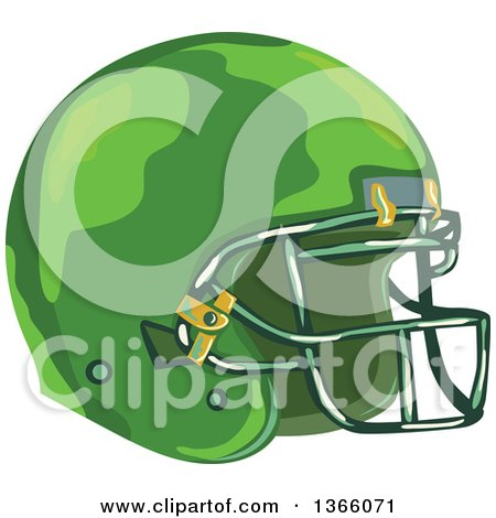 Clipart of a WPA Styled Green American Football Helmet - Royalty Free Vector Illustration by patrimonio