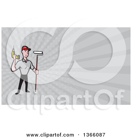 Cartoon Handyman Worker with a Drill and Paint Roller Brush and Gray Rays Background or Business Card Design Posters, Art Prints