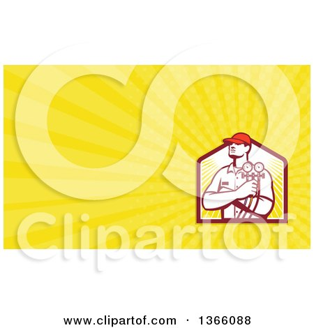 Clipart of a Retro Refrigeration Mechanic Worker Holding a Pressure Gauge and Yellow Rays Background or Business Card Design - Royalty Free Illustration by patrimonio