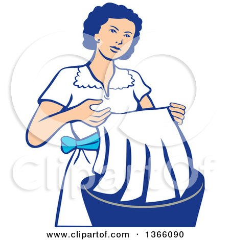Retro Housewife Washing Laundry in a Basin Posters, Art Prints