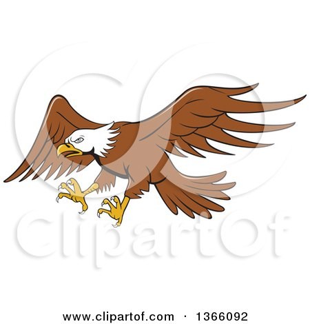 Clipart of a Cartoon Flying Bald Eagle - Royalty Free Vector Illustration by patrimonio
