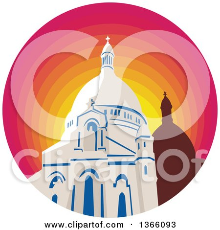 Clipart of a Retro WPA Style Catholic Church Dome Cathedral in a Gradient Sunset Circle - Royalty Free Vector Illustration by patrimonio