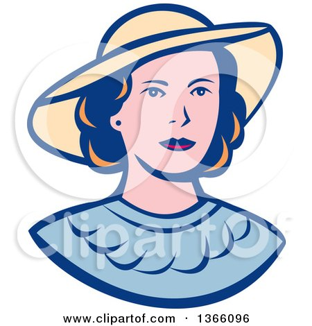 Clipart Of A Retro White Lady Wearing A Hat Royalty Free Vector Illustration