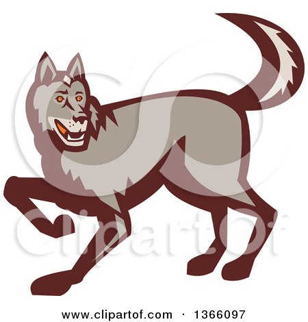 Clipart of a Retro Stalking Wolf - Royalty Free Vector Illustration by patrimonio