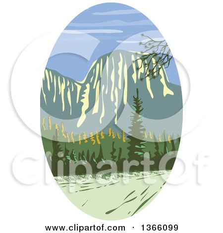 Clipart of a Retro Wpa Styled Landscape of El Capitan in Yosemite National Park - Royalty Free Vector Illustration by patrimonio