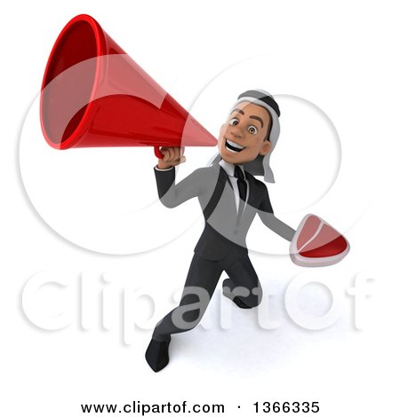 Clipart of a 3d Arabian Business Man Holding a Beef Steak and Using a Megaphone, on a White Background - Royalty Free Illustration by Julos