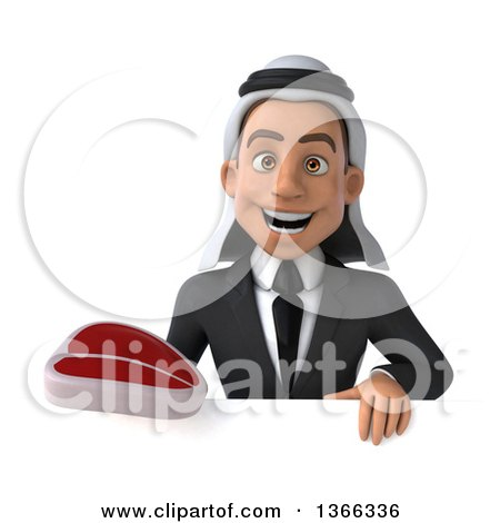 Clipart of a 3d Arabian Business Man Holding a Beef Steak over a Sign, on a White Background - Royalty Free Illustration by Julos