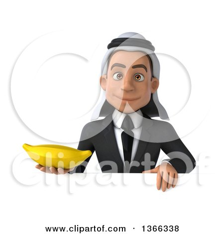 Clipart of a 3d Arabian Business Man Holding a Banana over a Sign, on a White Background - Royalty Free Illustration by Julos