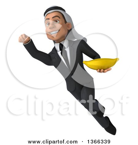 Clipart of a 3d Arabian Business Man Holding a Banana and Flying, on a White Background - Royalty Free Illustration by Julos