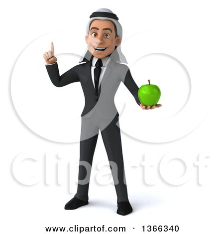 Clipart of a 3d Arabian Business Man Holding up a Finger and a Green Apple, on a White Background - Royalty Free Illustration by Julos