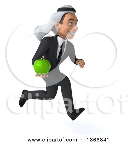 Clipart of a 3d Arabian Business Man Holding a Green Apple and Sprinting, on a White Background - Royalty Free Illustration by Julos