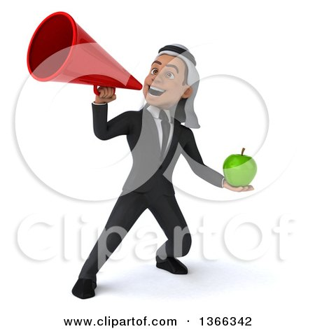 Clipart of a 3d Arabian Business Man Holding a Green Apple and Using a Megaphone, on a White Background - Royalty Free Illustration by Julos