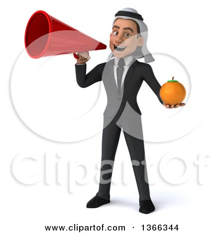 Clipart of a 3d Arabian Business Man Holding a Navel Orange and Using a Megaphone, on a White Background - Royalty Free Illustration by Julos
