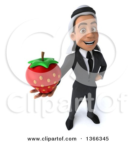 Clipart of a 3d Arabian Business Man Holding up a Strawberry, on a White Background - Royalty Free Illustration by Julos