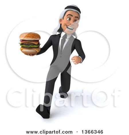 Clipart of a 3d Arabian Business Man Holding a Double Cheeseburger and Speed Walking, on a White Background - Royalty Free Illustration by Julos