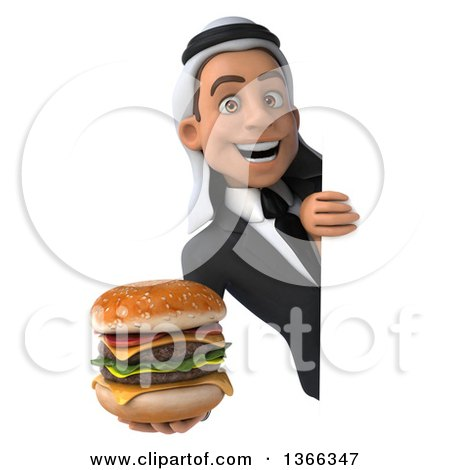 Clipart of a 3d Arabian Business Man Holding a Double Cheeseburger Around a Sign, on a White Background - Royalty Free Illustration by Julos