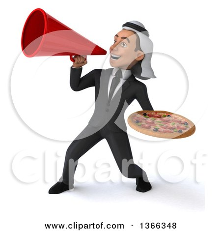 Clipart of a 3d Arabian Business Man Holding a Pizza and Using a Megaphone, on a White Background - Royalty Free Illustration by Julos