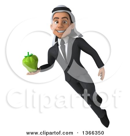 Clipart of a 3d Arabian Business Man Holding a Green Bell Pepper and Flying, on a White Background - Royalty Free Illustration by Julos