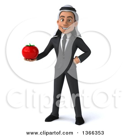 Clipart of a 3d Arabian Business Man Holding a Tomato, on a White Background - Royalty Free Illustration by Julos