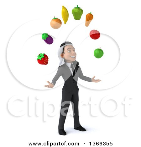 Clipart of a 3d Arabian Business Man Juggling Fruit, on a White Background - Royalty Free Illustration by Julos