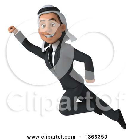 Clipart of a 3d Arabian Business Man Flying, on a White Background - Royalty Free Illustration by Julos