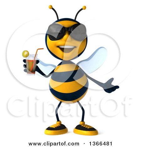 3d Male Bee Wearing Sunglasses and Holding a Drink, on a White Background Posters, Art Prints