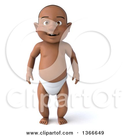 Clipart of a 3d Happy Black Baby Boy, on a White Background - Royalty Free Illustration by Julos