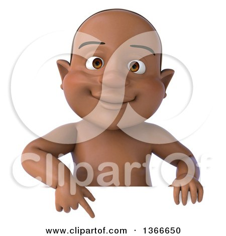 Clipart of a 3d Happy Black Baby Boy Pointing down over a Sign, on a White Background - Royalty Free Illustration by Julos