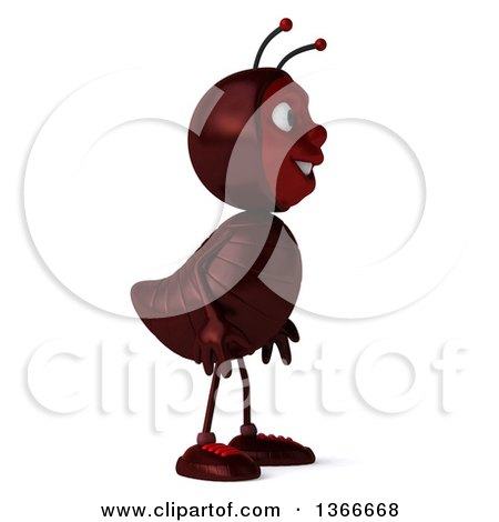 Clipart of a 3d Happy Ant Facing Right, on a White Background - Royalty Free Illustration by Julos